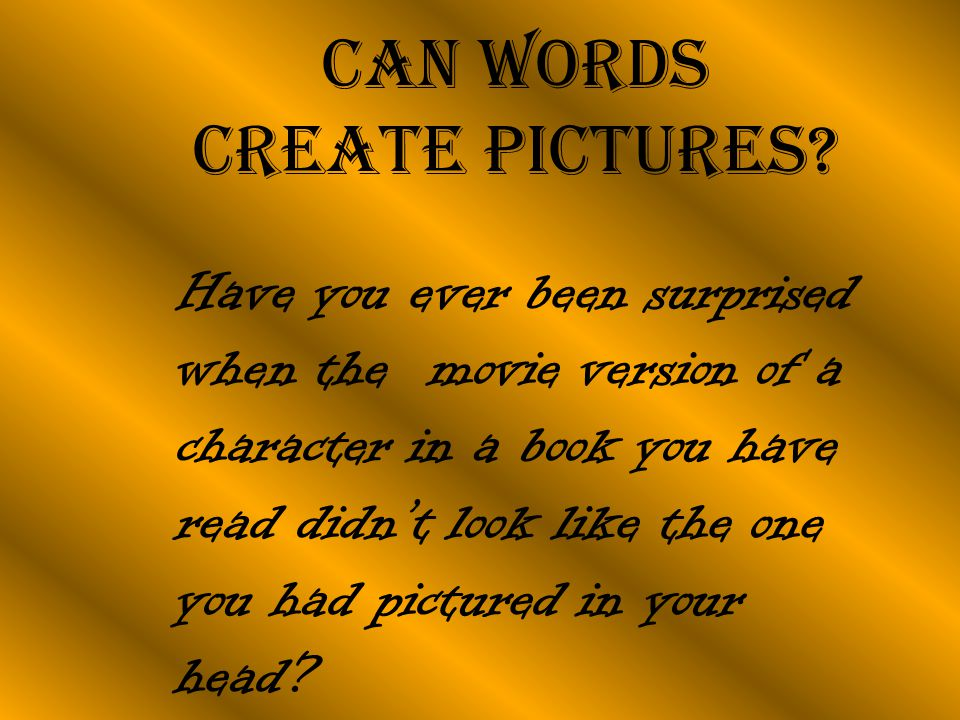 Can words create pictures