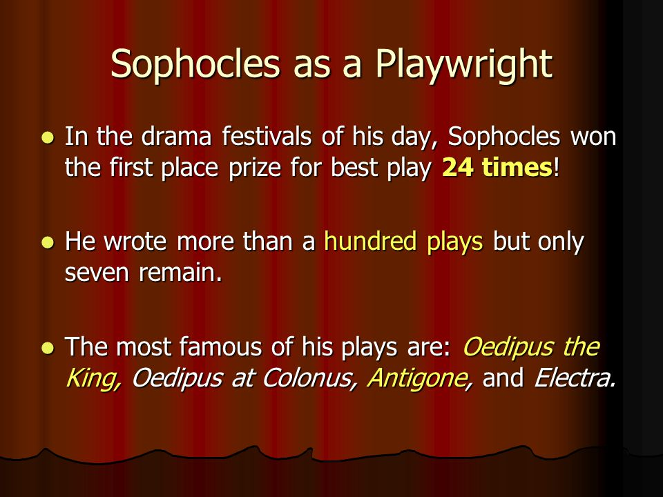 Sophocles as a Playwright