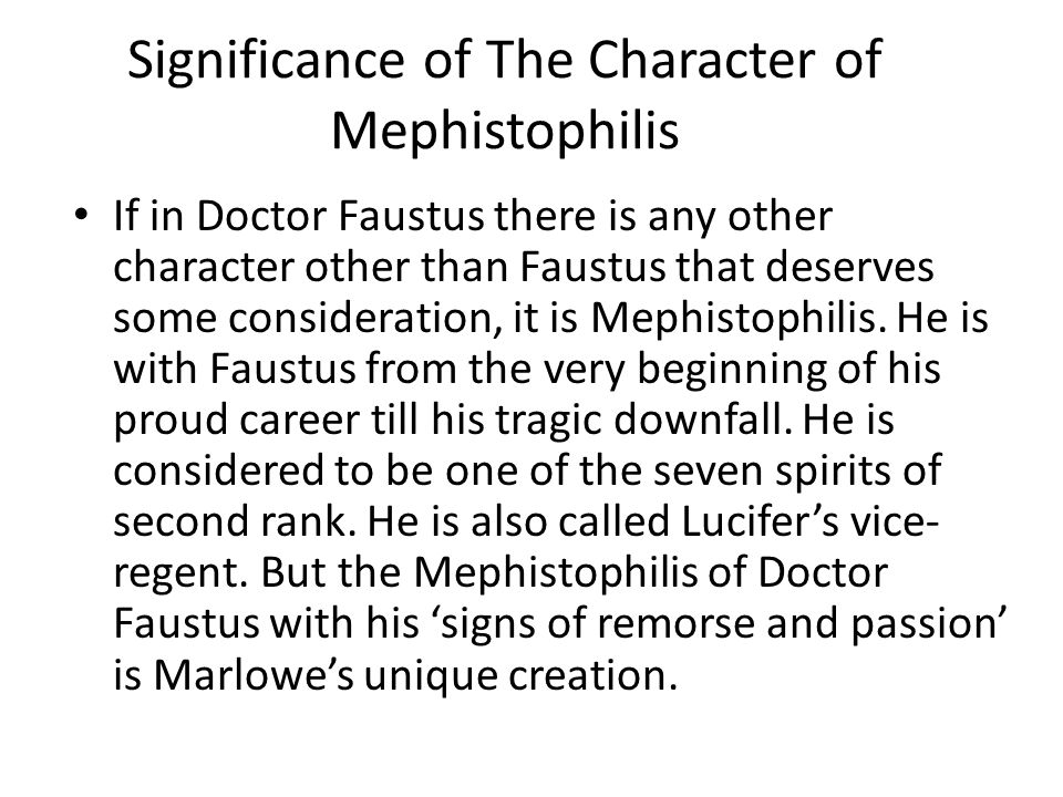 Significance of The Character of Mephistophilis