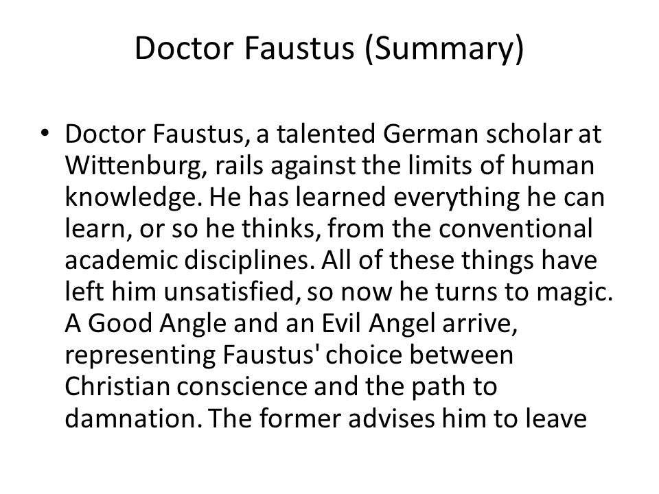Doctor Faustus (Summary)