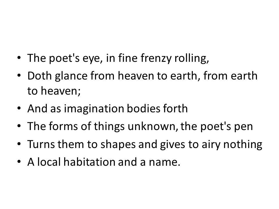 The poet s eye, in fine frenzy rolling,