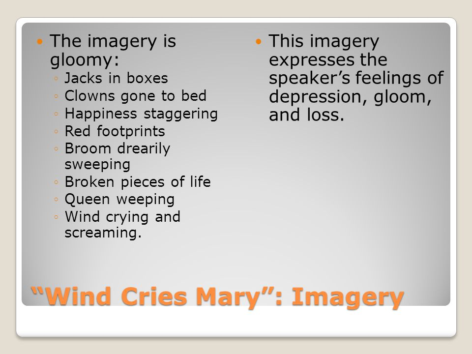 Wind Cries Mary : Imagery