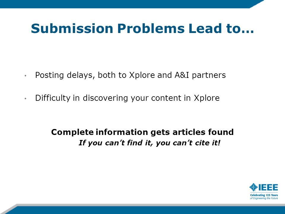 Submission Problems Lead to…
