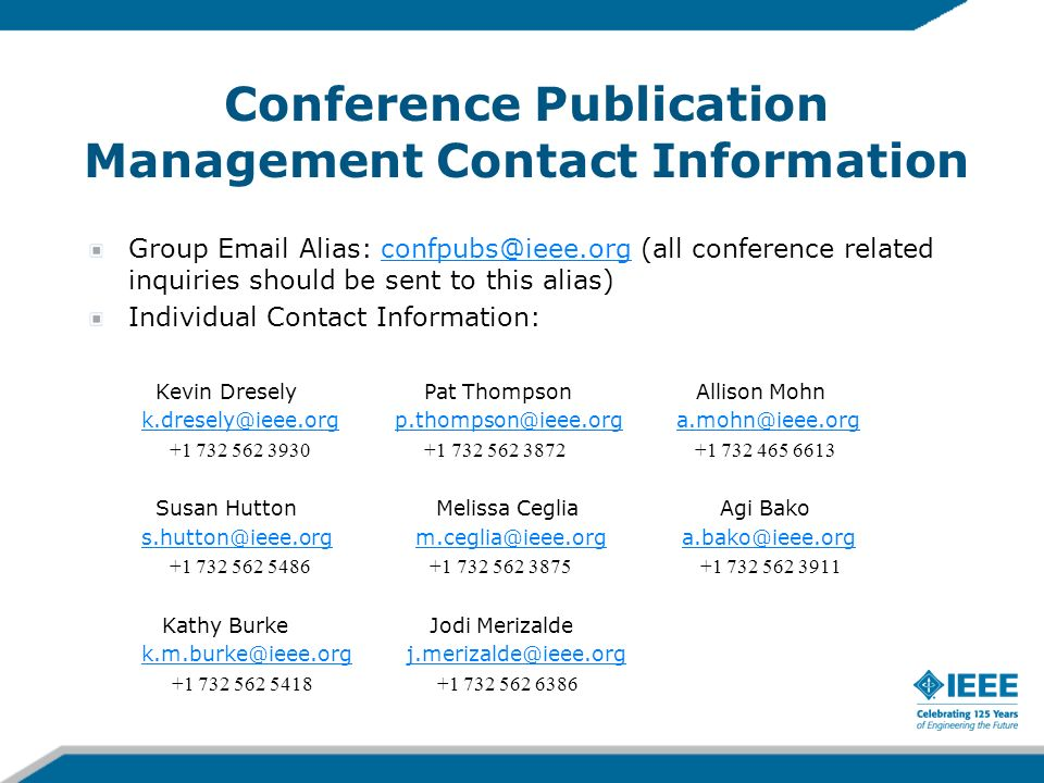 Conference Publication Management Contact Information