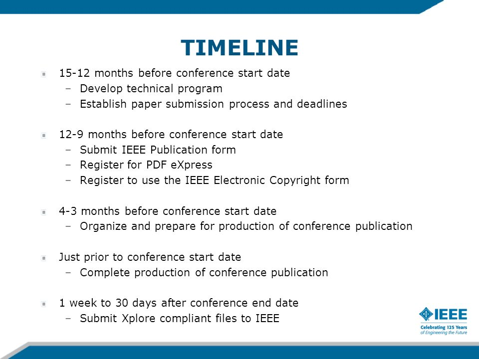 TIMELINE 15-12 months before conference start date