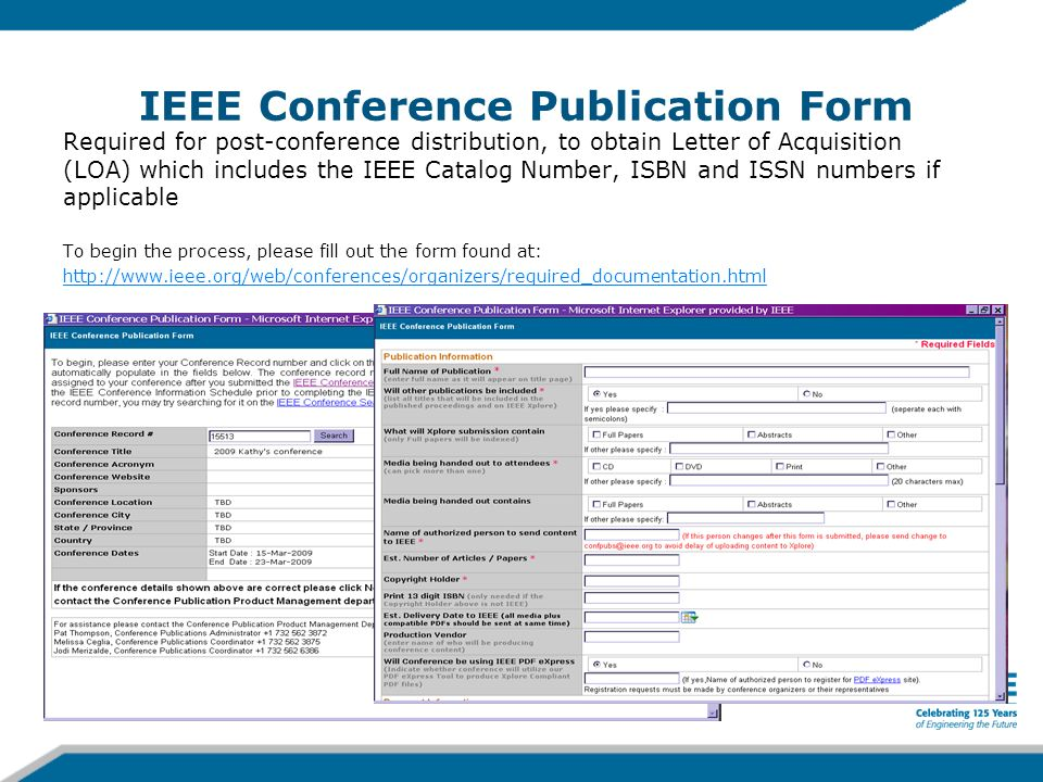 IEEE Conference Publication Form