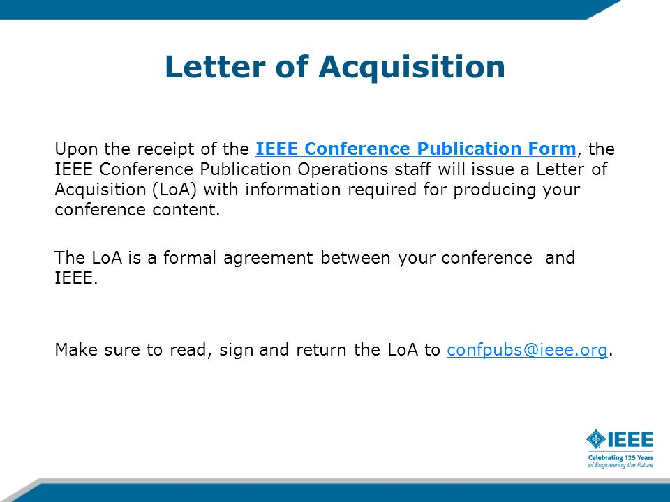 Letter of Acquisition
