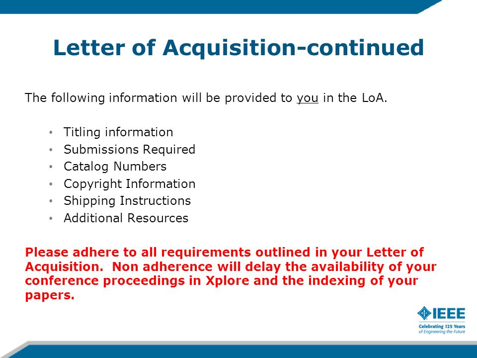 Letter of Acquisition-continued