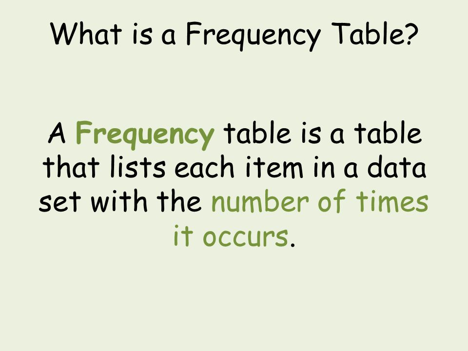 What is a Frequency Table