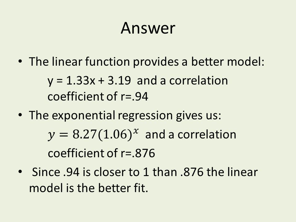Answer The linear function provides a better model: