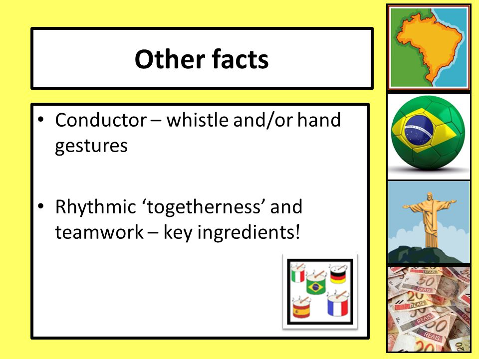 Other facts Conductor – whistle and/or hand gestures
