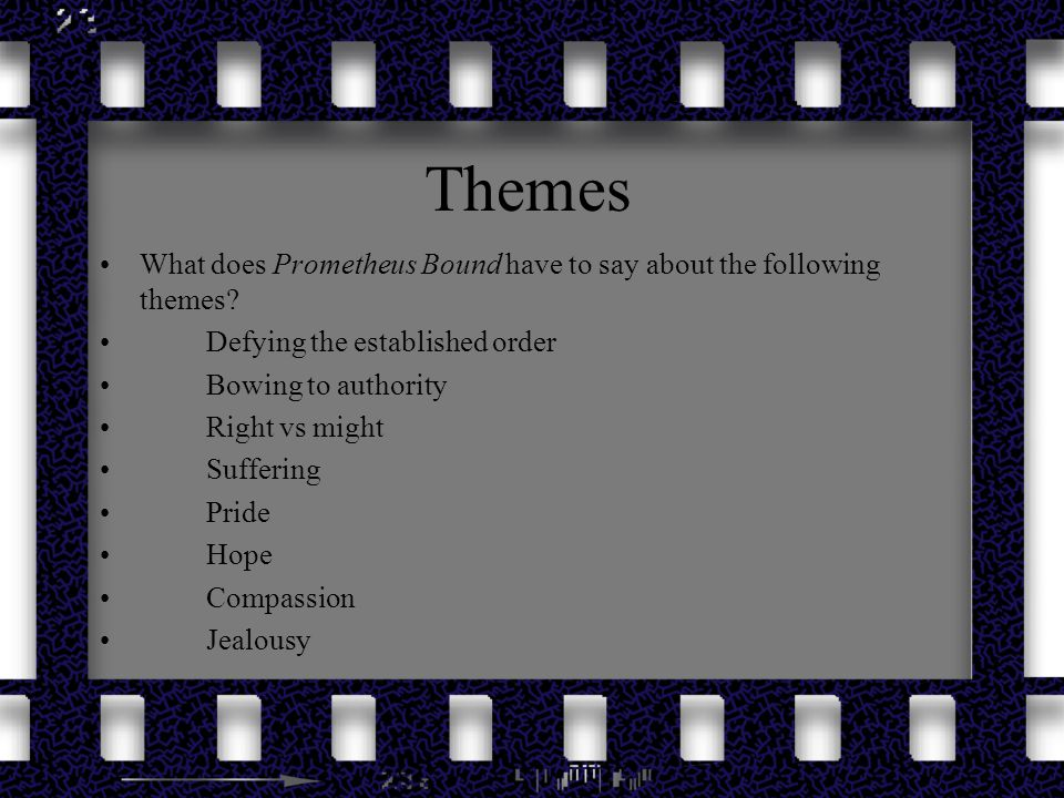 Themes What does Prometheus Bound have to say about the following themes Defying the established order.
