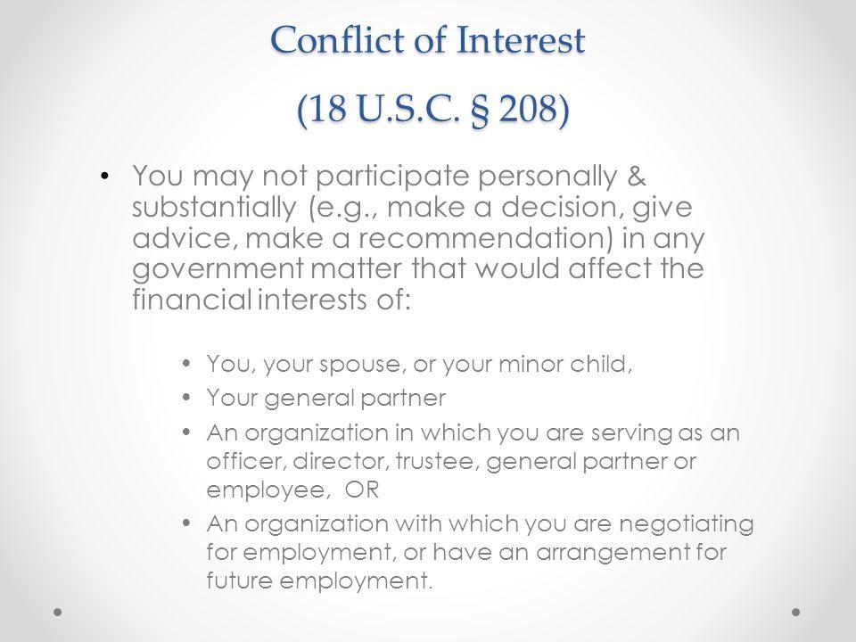 Conflict of Interest (18 U.S.C. § 208)