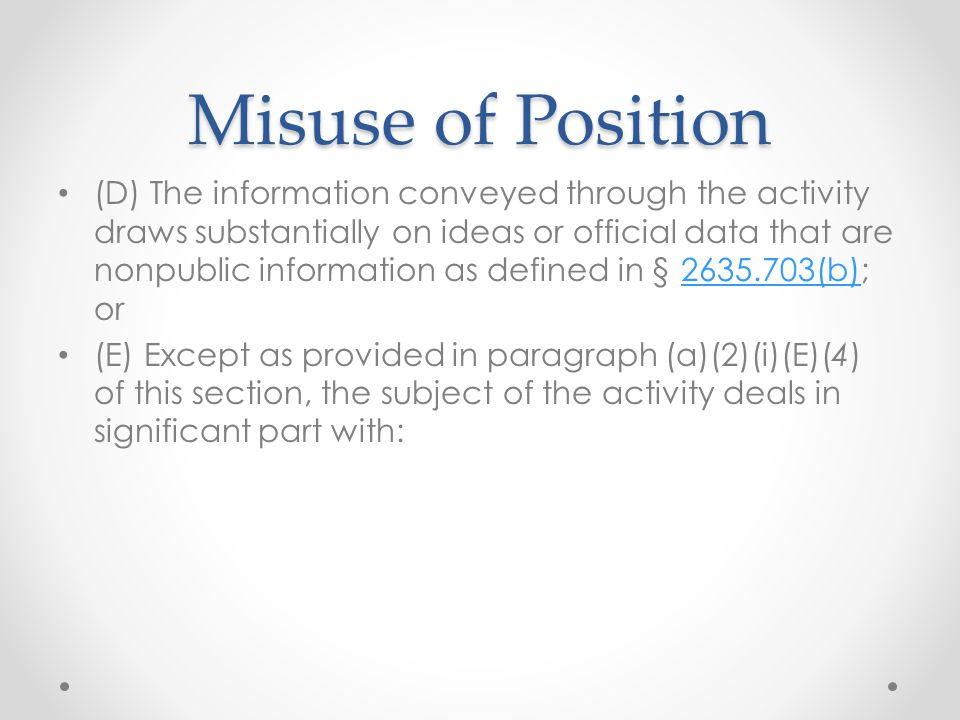 Misuse of Position