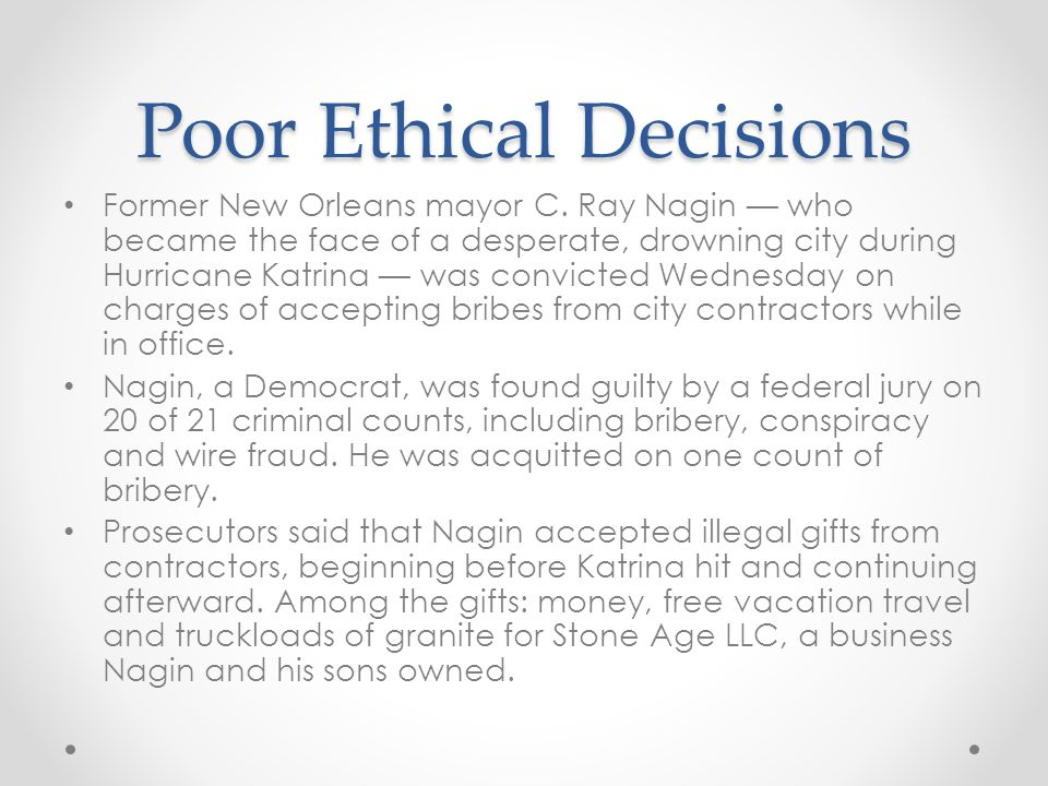 Poor Ethical Decisions