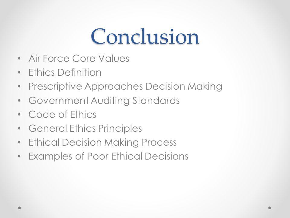 Conclusion Air Force Core Values Ethics Definition