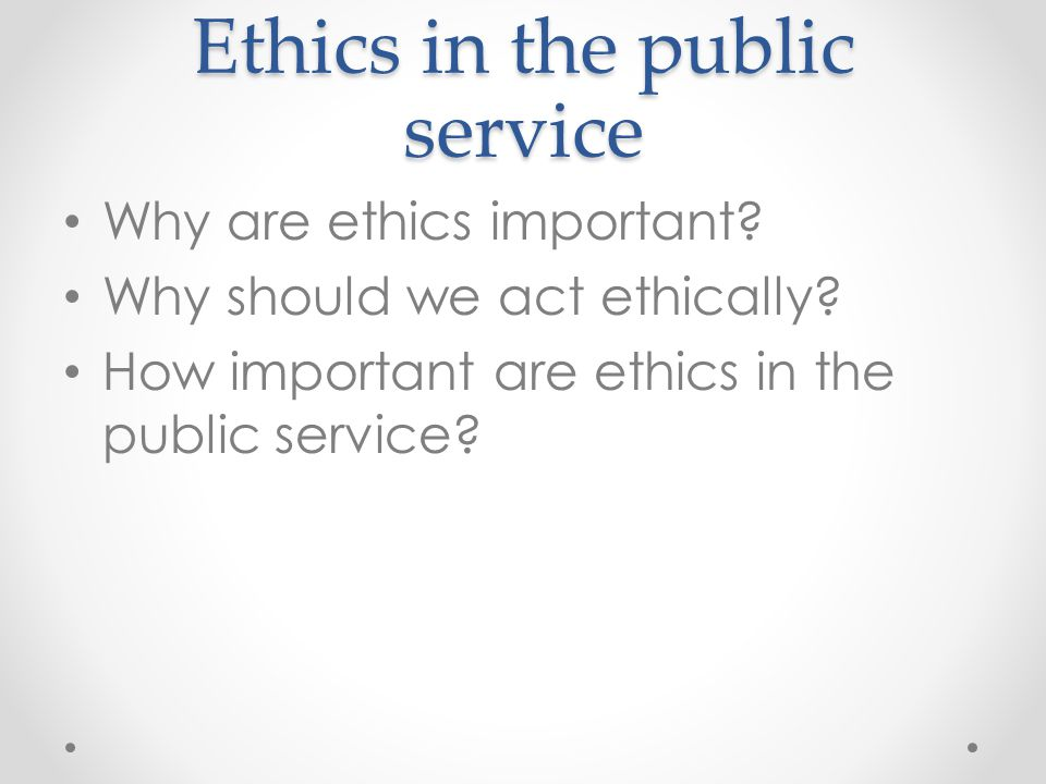 Ethics in the public service