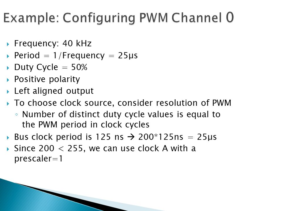 Example: Configuring PWM Channel 0