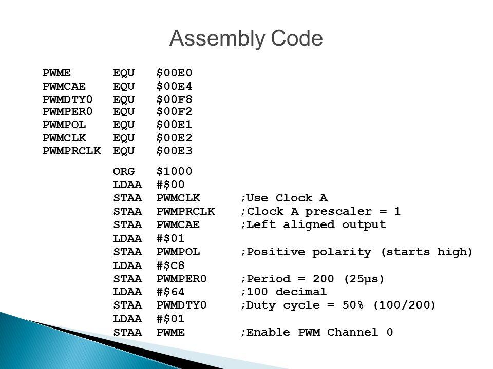 Assembly Code PWME EQU $00E0 PWMCAE EQU $00E4