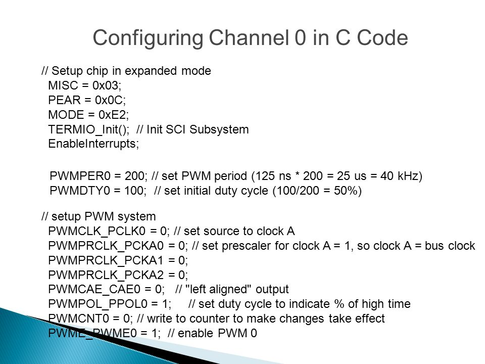 Configuring Channel 0 in C Code