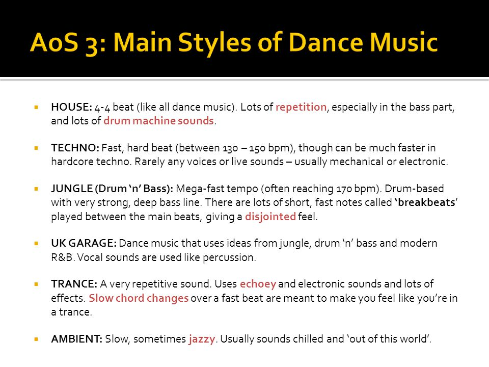 AoS 3: Main Styles of Dance Music