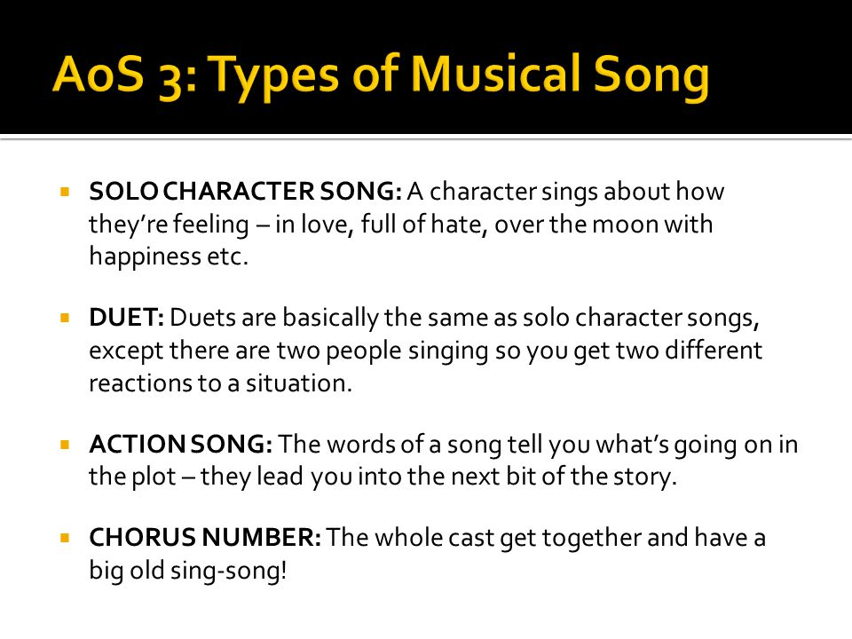 AoS 3: Types of Musical Song