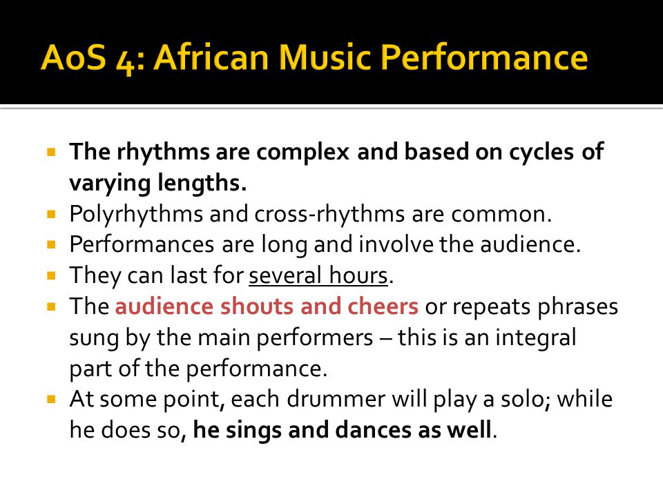 AoS 4: African Music Performance