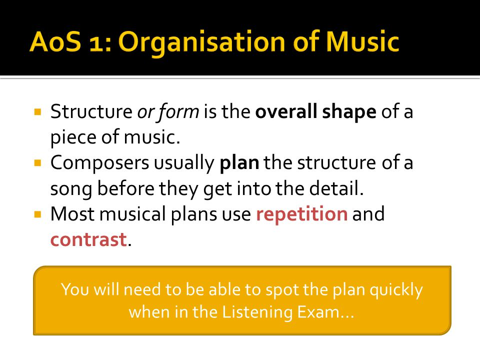 AoS 1: Organisation of Music