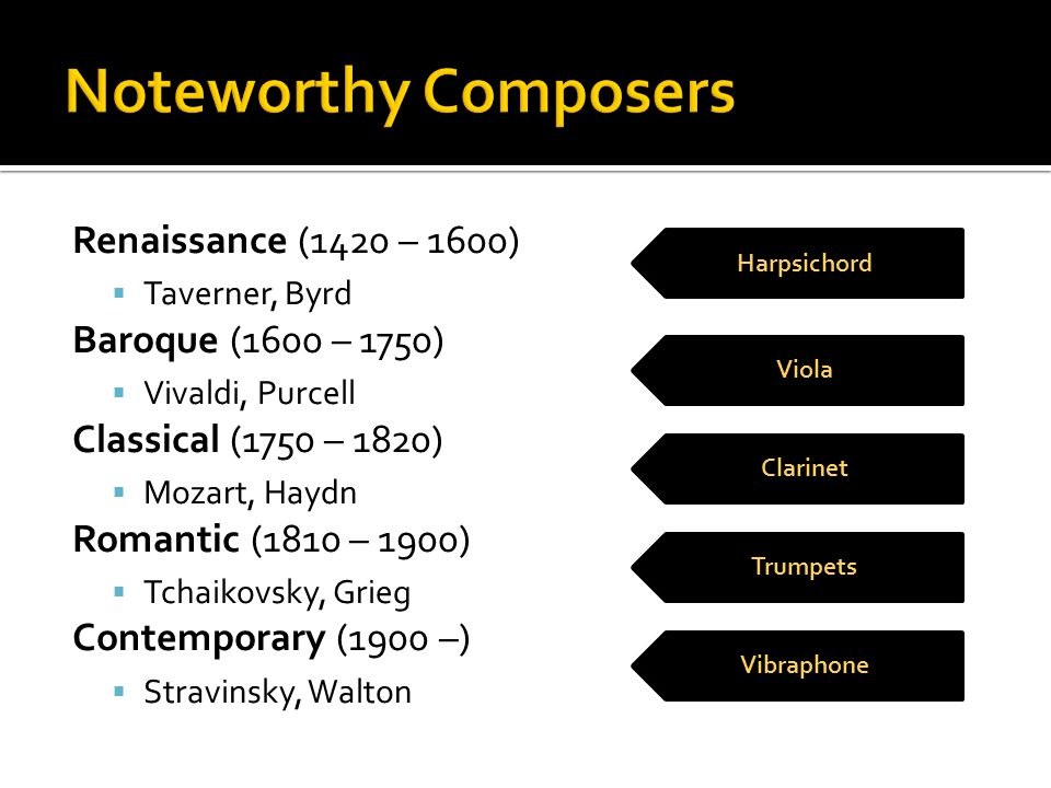 Noteworthy Composers Renaissance (1420 – 1600) Baroque (1600 – 1750)