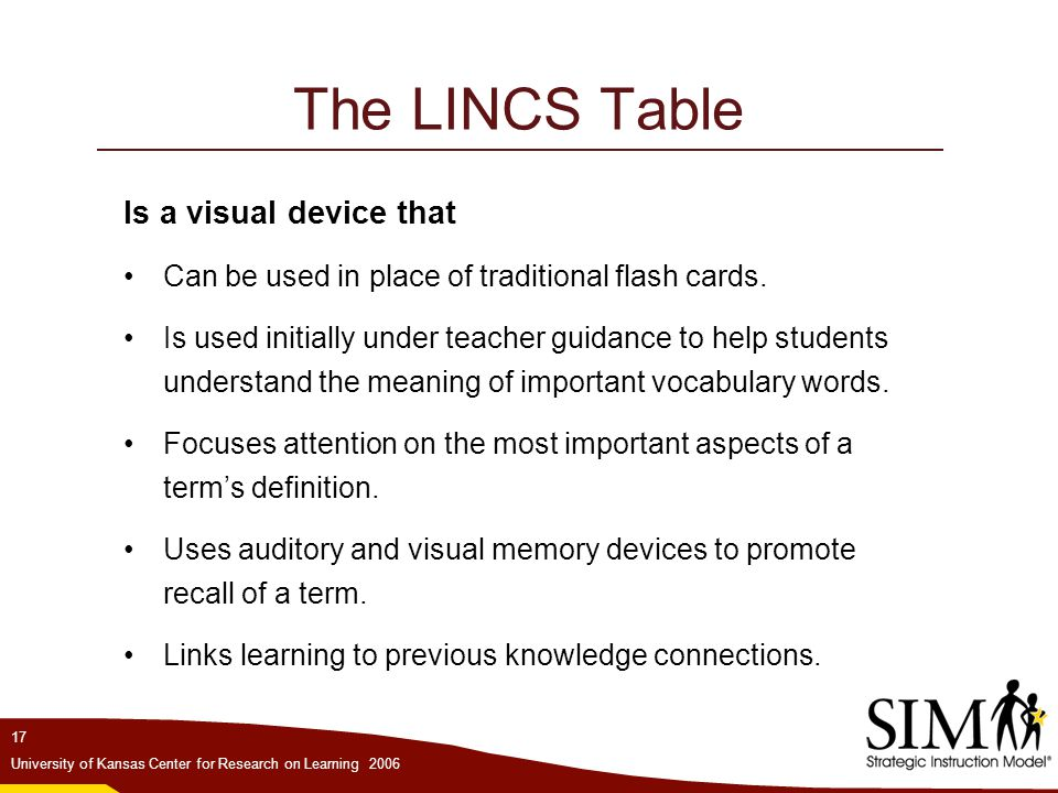 The LINCS Table Is a visual device that