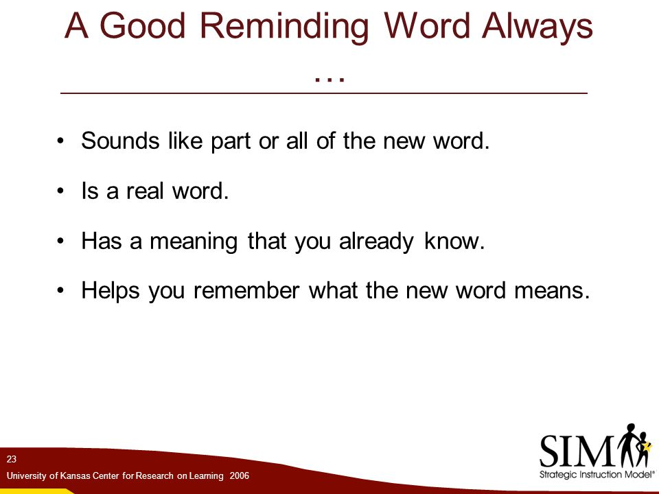 A Good Reminding Word Always …