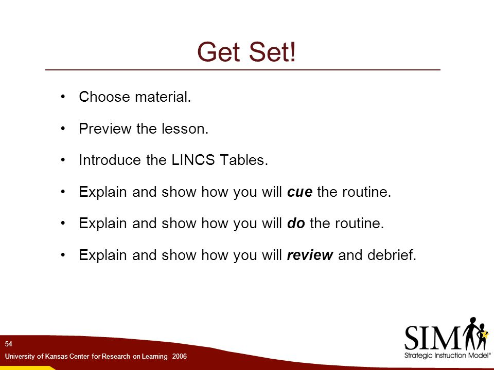 Get Set! Choose material. Preview the lesson.
