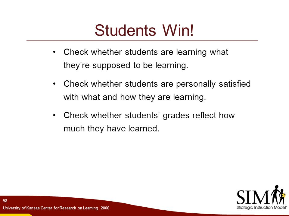 Students Win! Check whether students are learning what they're supposed to be learning.