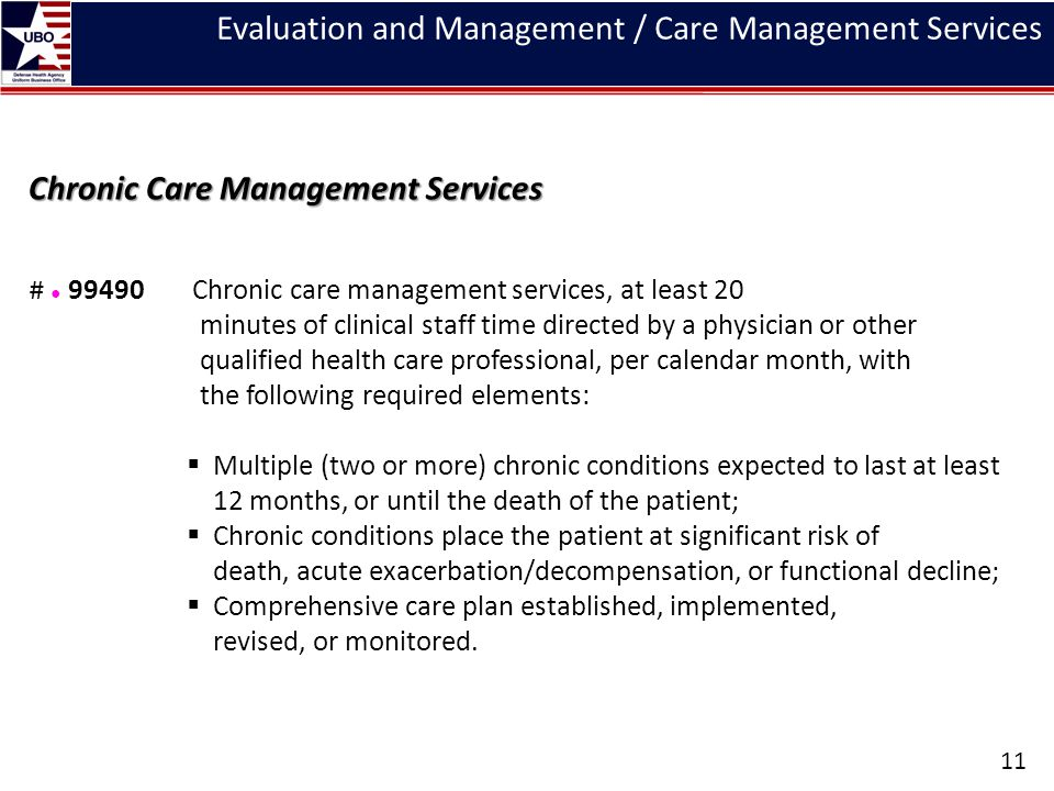 Evaluation and Management / Care Management Services