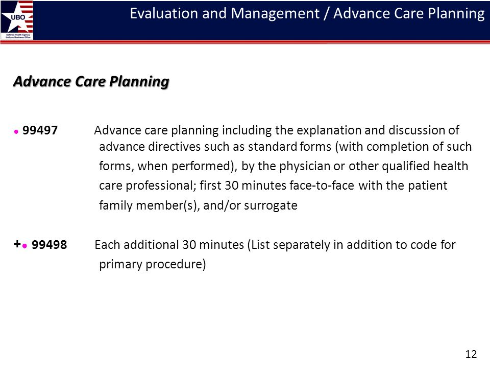 Evaluation and Management / Advance Care Planning