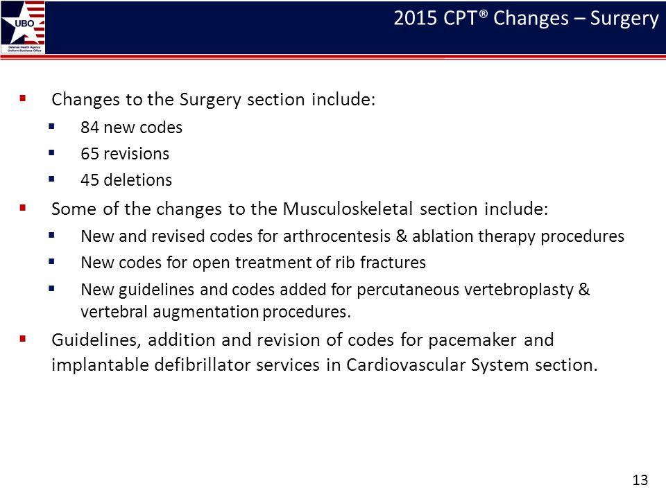 2015 CPT® Changes – Surgery Changes to the Surgery section include:
