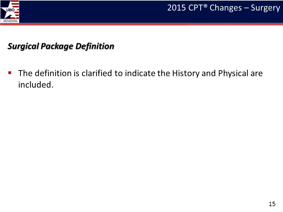 2015 CPT® Changes – Surgery Surgical Package Definition.