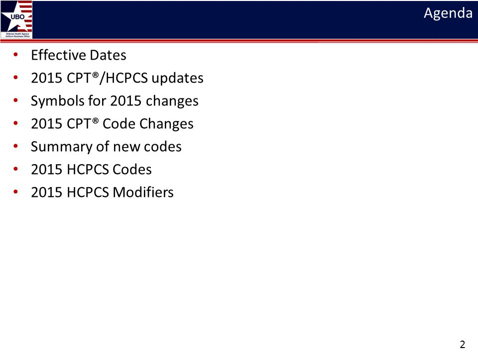 Agenda Effective Dates. 2015 CPT®/HCPCS updates. Symbols for 2015 changes. 2015 CPT® Code Changes.