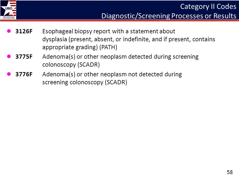 Category II Codes Diagnostic/Screening Processes or Results