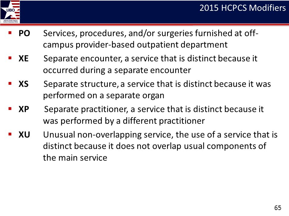2015 HCPCS Modifiers PO Services, procedures, and/or surgeries furnished at off- campus provider-based outpatient department.
