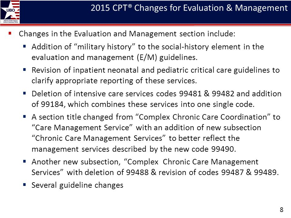 2015 CPT® Changes for Evaluation & Management