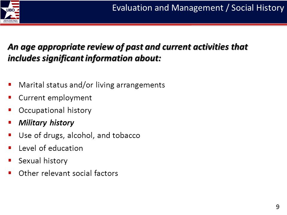 Evaluation and Management / Social History