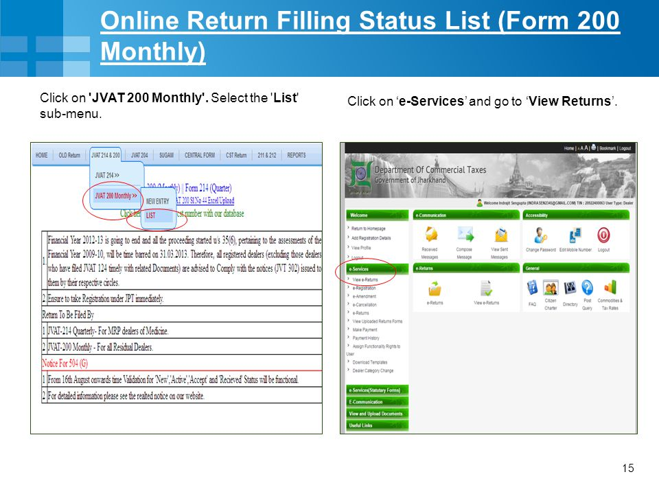 Online Return Filling Status List (Form 200 Monthly)