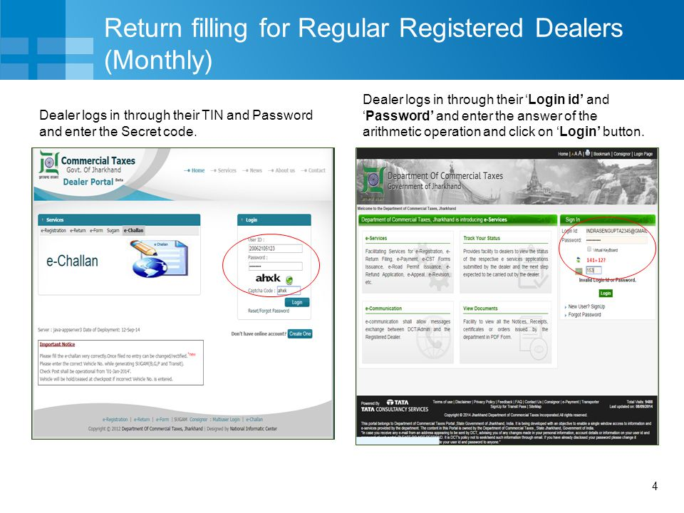 Return filling for Regular Registered Dealers (Monthly)