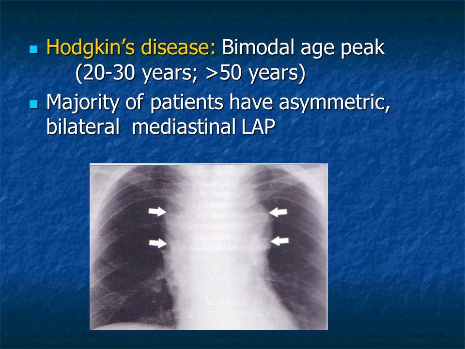 Hodgkin's disease: Bimodal age peak (20-30 years; >50 years)