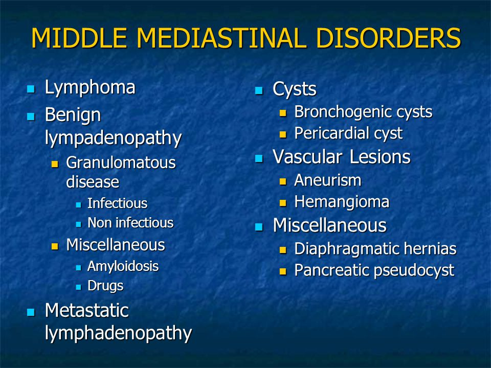 MIDDLE MEDIASTINAL DISORDERS