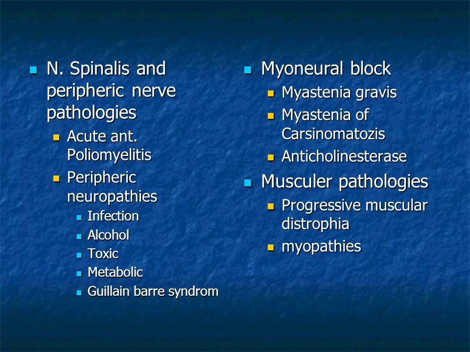 N. Spinalis and peripheric nerve pathologies Myoneural block