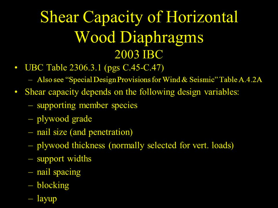 Shear Capacity of Horizontal Wood Diaphragms 2003 IBC
