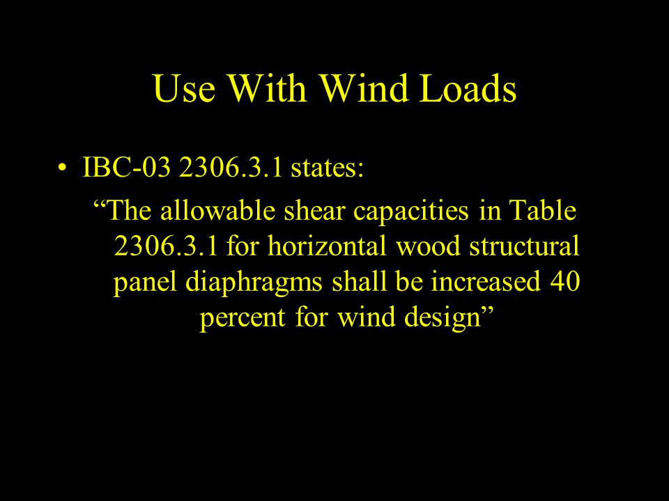 Use With Wind Loads IBC-03 2306.3.1 states: