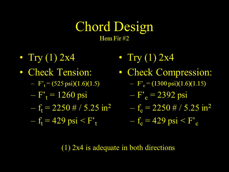 Chord Design Hem Fir #2 Try (1) 2x4 Check Tension: Try (1) 2x4